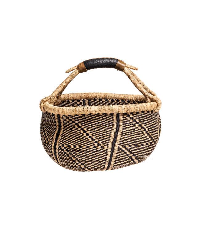 Bolga basket with leather handle #13