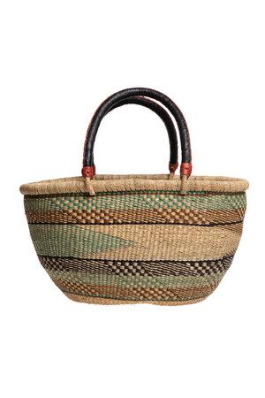 Bolga oval basket with leather handle #2