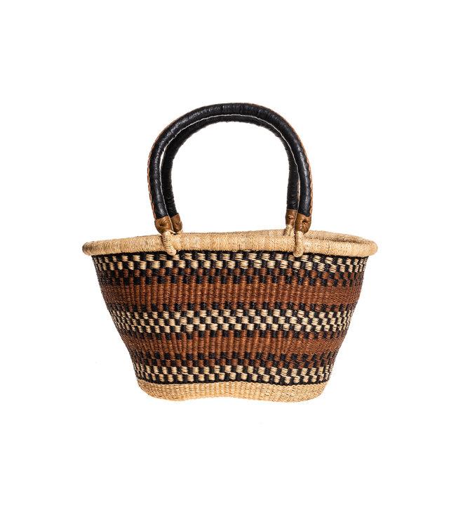 Bolga oval basket with leather handle #3