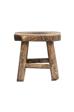 Old low stool weathered elm wood