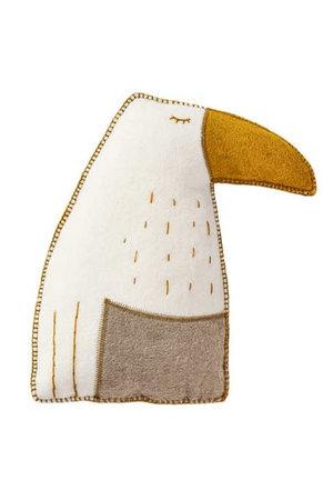 Muskhane Pasu felt cushion toucan - natural