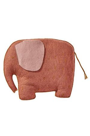 Muskhane Pasu felt cushion elephant - corail