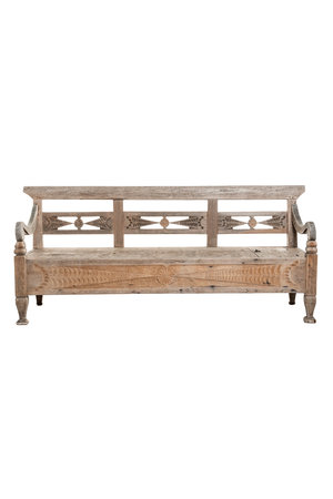 Authentic garden bench teak with suitcase
