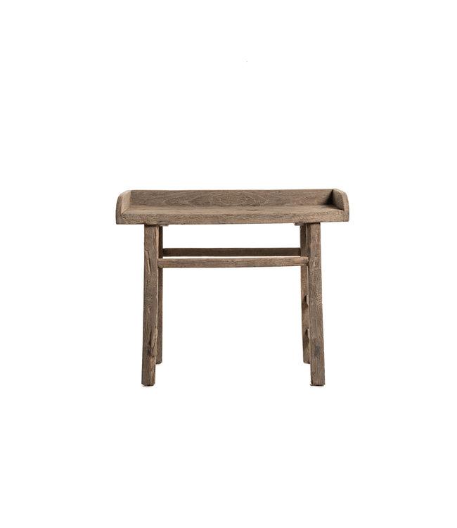 Sidetable  elm wood with raised edge