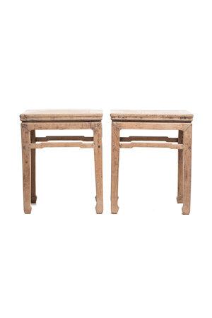 Set of 2 square bedside tables, elm