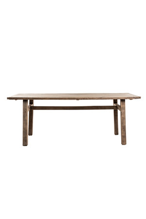 Old elm table with wooden legs