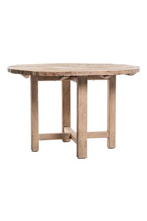 Ronde tafel verweerde olm met houten poten