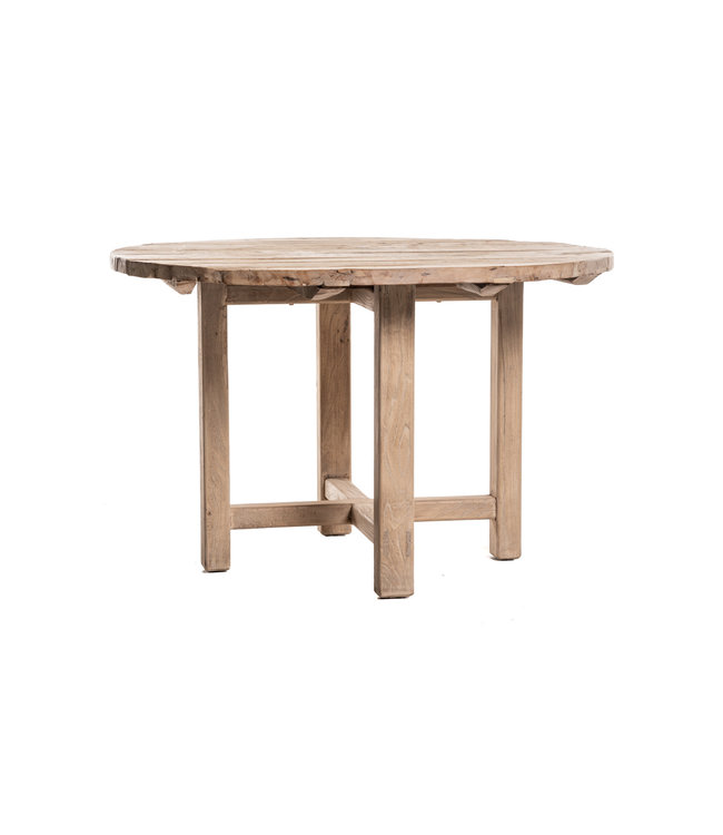 Round table weathered elm wood with wooden legs