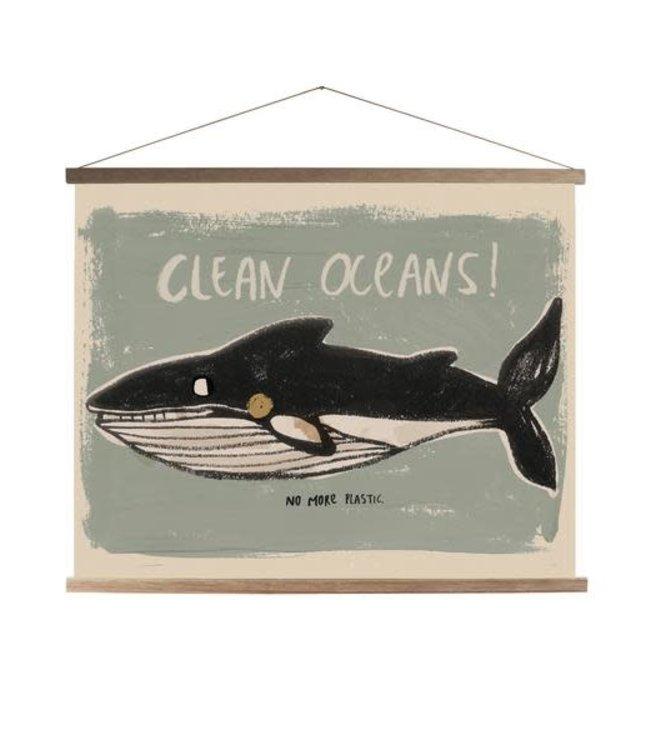 Schoolprint canvas whale