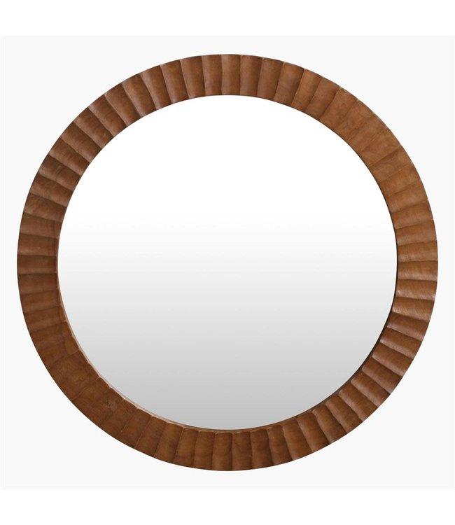 Roud mirror teak wood