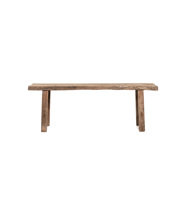 Robust small bench elm wood 148cm