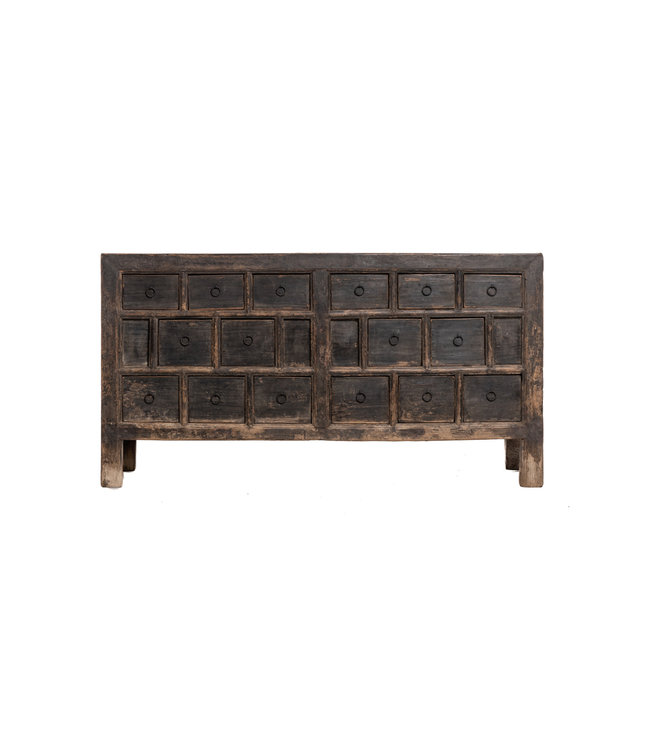 Patinated sideboard with  drawers, elm wood