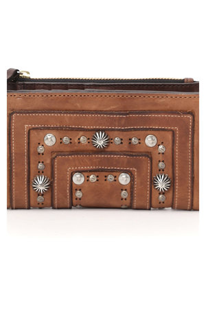 Wallet flat cow + studs cognac/camouflage inside