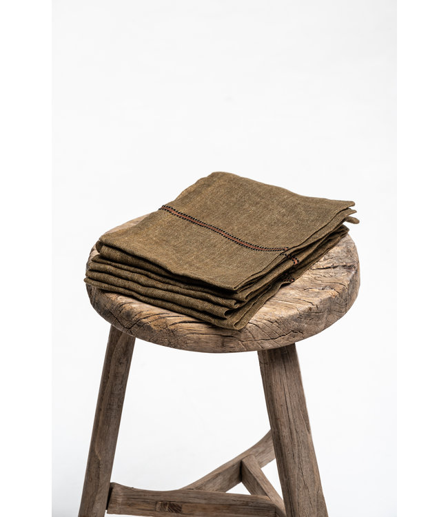 Libeco Marie napkin - bronze stripe