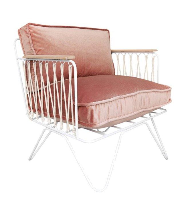 Fauteuil croisette - velours - accoudoirs bois clair - rose - structure blanc