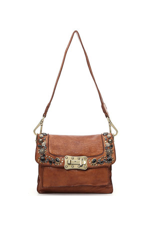 Agnese crossbody small cow+studs - bronze/cognac