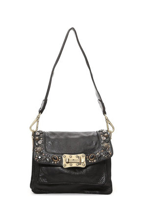 Campomaggi Agnese crossbody bag small cow+'bella di notte' studs- black