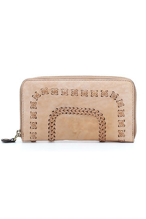 Wallet zip bleached cow+multi seams - beige