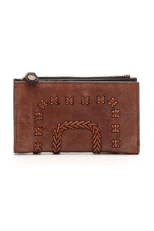 Wallet flat cow + multi seams - cognac