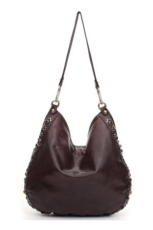 Shoulder bag cow 'bella di notte' studs - aubergine