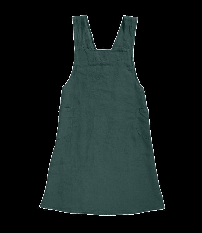 Japanese apron linen - adult vintage green