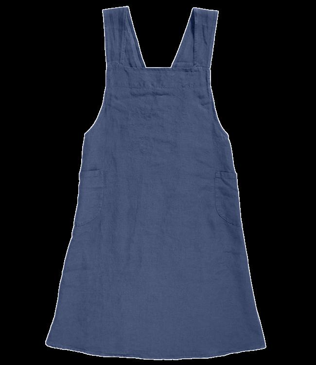 Linge Particulier Japanese apron linen - adult atlantic blue