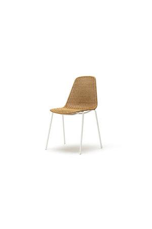 Basket chair indoor -  white frame / rattan pulut