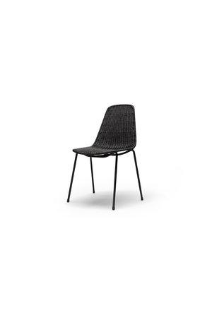 Basket chair indoor - black frame / pulut dark grey