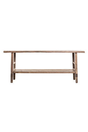 Large sidetable with double shelf elm wood 210cm
