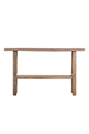 Sidetable with double shelf elm wood  144cm