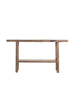 Sidetable with double shelf elm wood 162cm