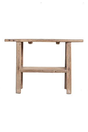 Sidetable with double shelf elm wood 117cm