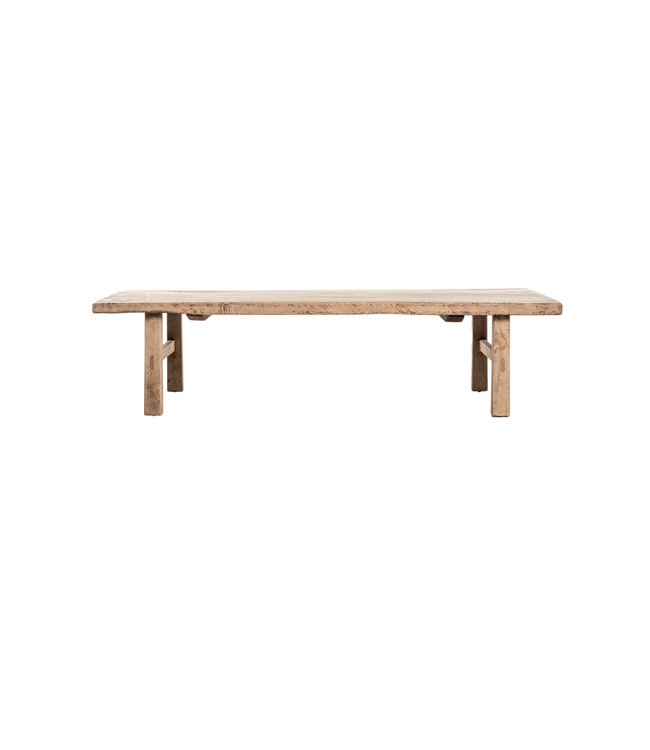 Coffee table elm wood with wooden legs