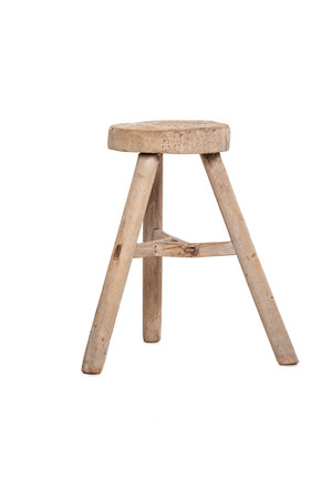 Elm wood antique stool round # 13
