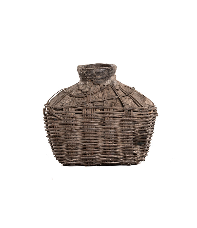 Ancient Chinese storage basket with clay - small