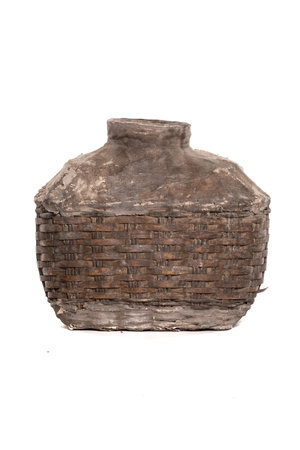 Ancient Chinese storage basket with clay - large