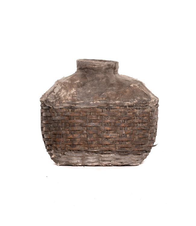 Wicker oil basket with clay - large