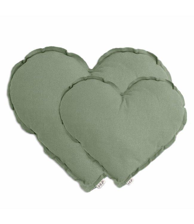 Hart kussen - sage green