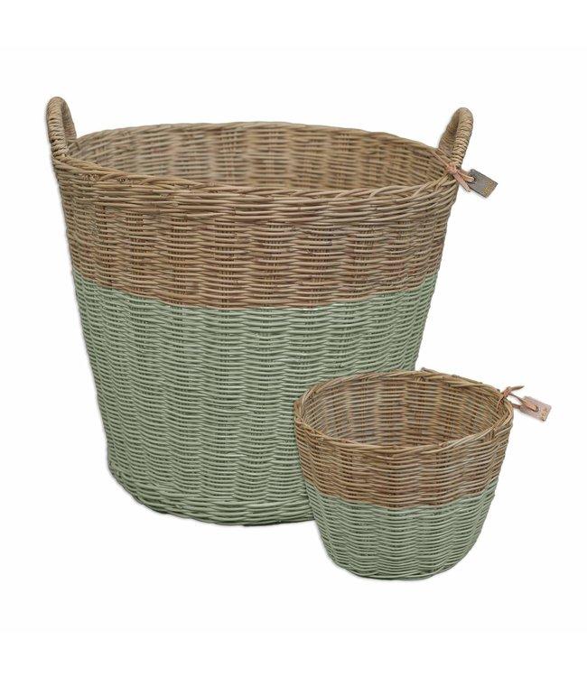 Rattan basket - sage green
