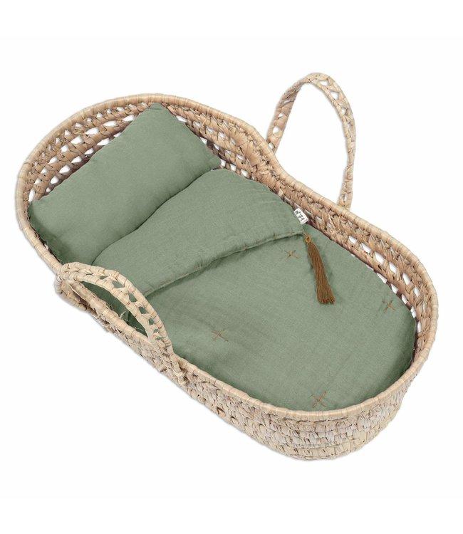 Bed linen for doll basket - sage green