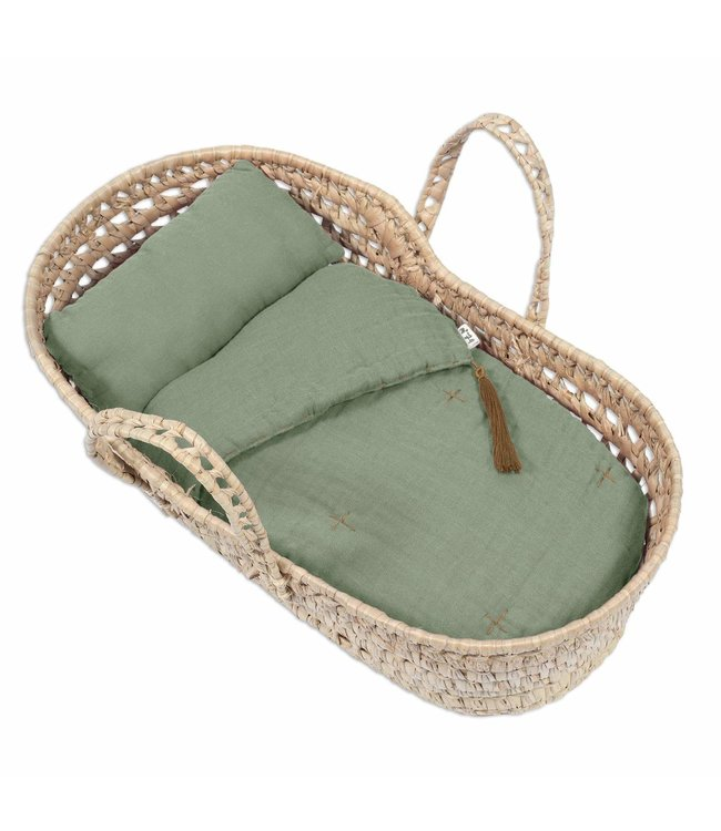 Numero 74 Bed linen for doll basket - sage green