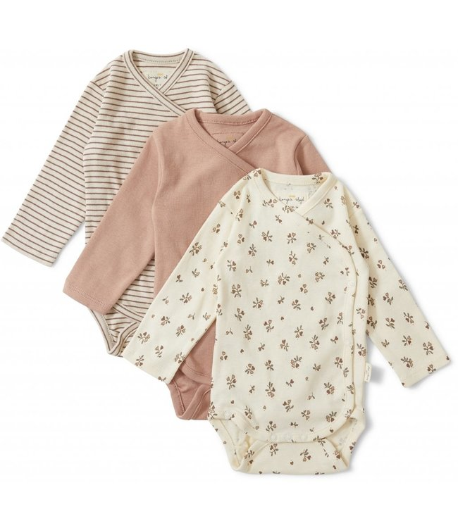 Konges Sløjd 3 pack new born body - petit amour/striped/blush