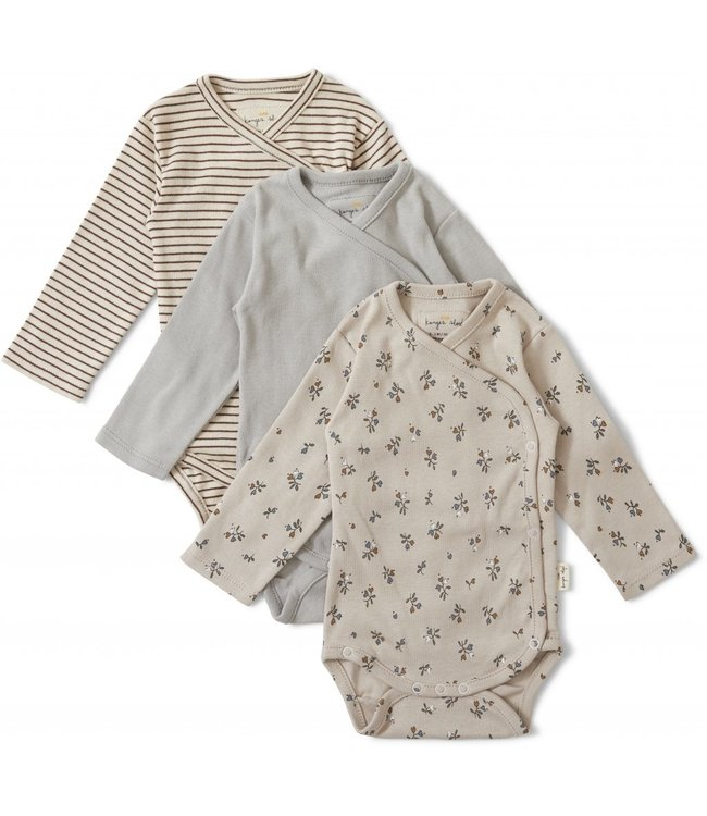 3 pack new born body - petit amour/striped/blue