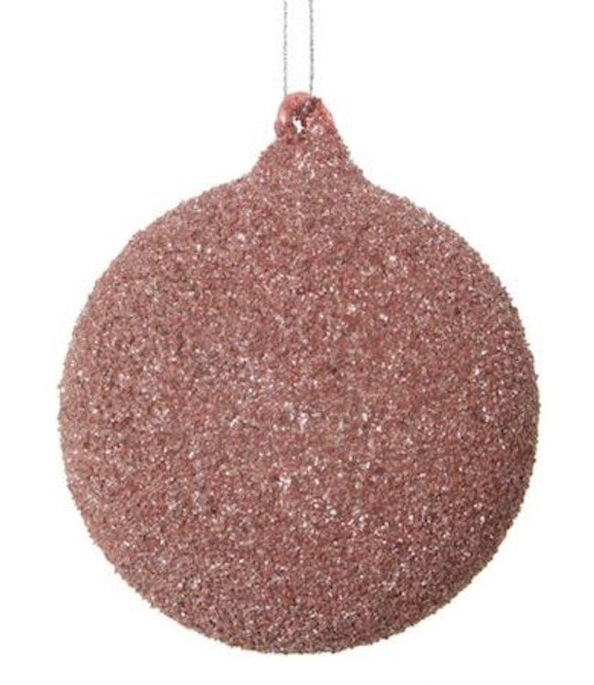 Glazen kerstbal roze met glitter / 6 stuks