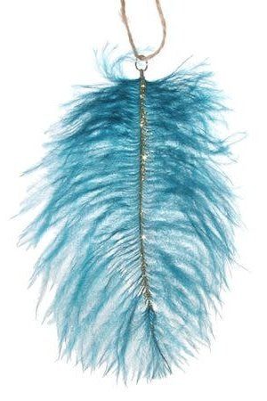 Ostrich feather blue/gold
