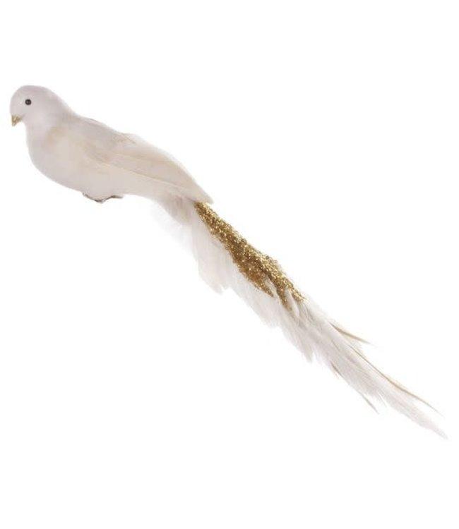 Vogel met clip - cream/goud