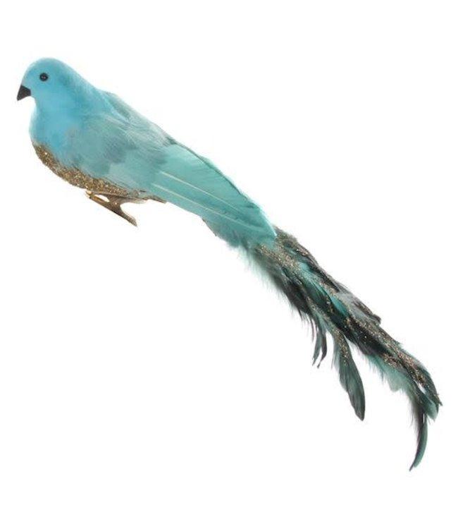 Vogel met clip - gold/blue
