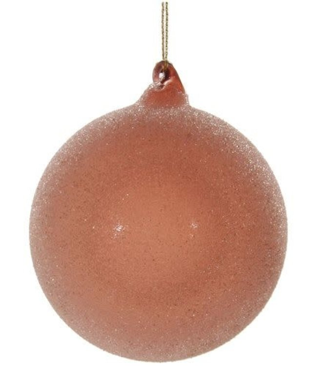 Glazen kerstbal - pink sugared / 6 stuks