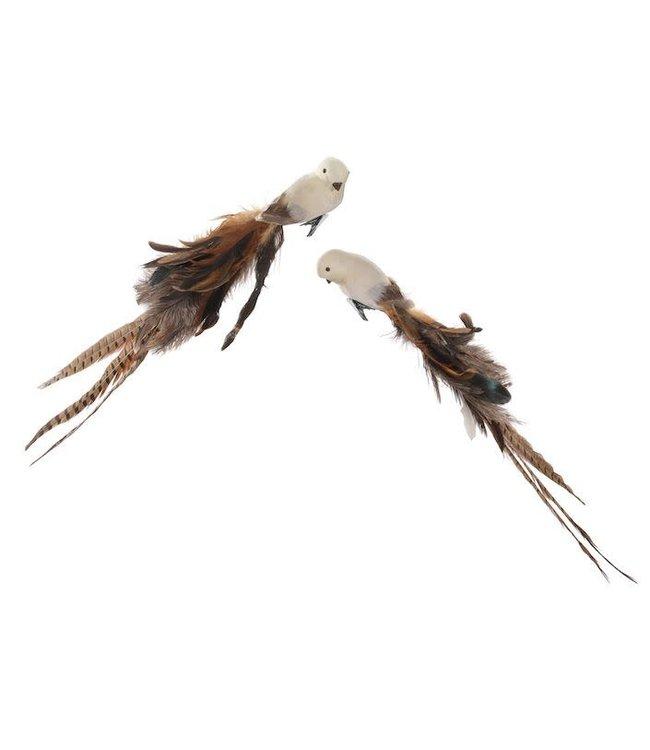 Vogel met clip - beige/bruin