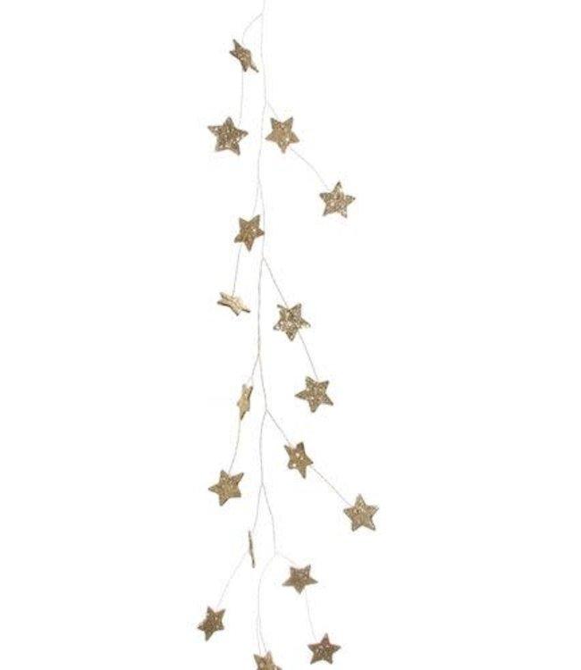 Glitter mini star wire garland dark gold